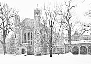 University Of Michigan Framed Prints - Snow on the Law Quad Framed Print by James Howe