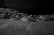 Snowy Night Night Photo Prints - Snow on the Rocks Print by Mike Horvath