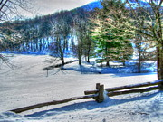 Split Rail Fence Prints - Snow on the Split Rail Print by Dan Stone