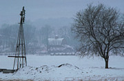 Winter Scenes Rural Scenes Prints - Snow on the Windmill Tree and Barn Print by Rick Grisolano Photography LLC