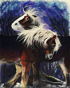Animals Love Pastels Prints - Snow Ponies Print by Brenda Salamone