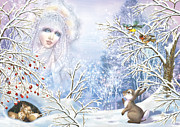 Fantasy Tree Posters - Snow Queen Poster by Zorina Baldescu