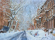 Winter Scene Metal Prints - Snow Remsen St. Brooklyn New York Metal Print by Anthony Butera