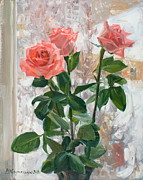 Still Life Originals - Snow roses by Victoria Kharchenko