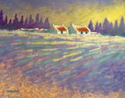 Christmas Cards Paintings - Snow Scape County Wicklow by John  Nolan