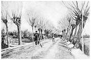 Snow Covered Street Framed Prints - Snow Scene at Etten Framed Print by Vincent van Gogh