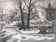 Snow Scene Drawings Originals - Snow Scene by Raffi  Jacobian