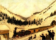 Railroad Snow Paintings - Snow Sheds  by Joseph Becker