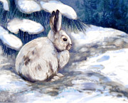 Shoe Mixed Media Prints - Snow Shoe Rabbit in Winter Print by Peggy Wilson