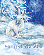 Christmas Star Mixed Media Posters - Snow Shoe Rabbit with Xmas Star Poster by Peggy Wilson