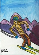 Brandon Drucker Prints - Snow Skier Print by Brandon Drucker