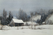 Snowstorm Paintings - Snow Softly by Karen Richardson