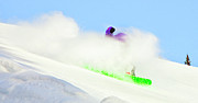 Ski Hill Prints - Snow Spray Print by Theresa Tahara