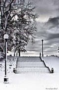 Snow Stairs Print by Steven Reed