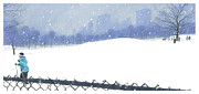Nyc Mixed Media - Snow Storm by Clifford Faust