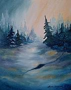 Snowscape Painting Metal Prints - Snow Storm Metal Print by Lora Duguay