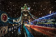 Snowy Night Night Digital Art Prints - Snow Storm Tower Bridge Print by Donald Davis