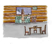 Log Cabin Art Prints - Snow Tang - story illustration 2 age 12 Print by Dawn Senior-Trask