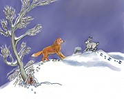 Rabbit Pastels Posters - Snow Tang - story illustration age 12 Poster by Dawn Senior-Trask