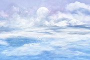 Clouds Glass Art Prints - Snow valley Print by Nika Lerman