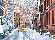 Winter Scene Painting Metal Prints - Snow West Village New York City Metal Print by Anthony Butera