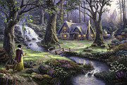 Disney Framed Prints - Snow White Discovers the Cottage Framed Print by Thomas Kinkade