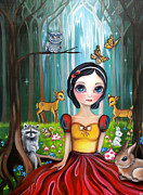 Colorful Owl Paintings - Snow White in the Enchanted Forest by Jaz Higgins