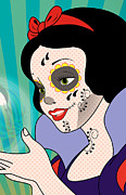 Caricature Framed Prints - SNOW WHITE Mexican Day Framed Print by Mark Ashkenazi