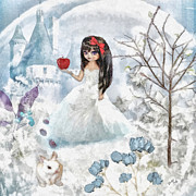 Snow Mixed Media Posters - Snow White Poster by Mo T