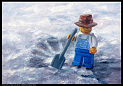 Lego Painting Prints - Snow Why Did it Have to be Snow Print by Diana Moses Botkin