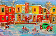 Canadiens Paintings - Snowball Fight by Michael Litvack
