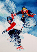 Winter Sports Art Prints Framed Prints - Snowboard Psyched Framed Print by Hanne Lore Koehler