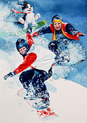 Sport Artist Paintings - Snowboard Super Heroes by Hanne Lore Koehler