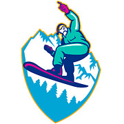 Mountain Digital Art Prints - Snowboarder Holding Snowboard Alps Retro Print by Aloysius Patrimonio