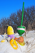Catherine Reusch Daley Prints - Snowbound Buoys Print by Catherine Reusch  Daley