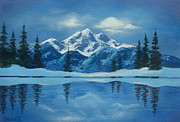 Serenity Landscapes Paintings - Snowbound  by Shasta Eone