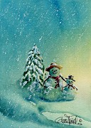 Scarves Painting Originals - Snowbuddies by Glenn Farrell