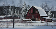 Barn Door Painting Framed Prints - Snowcover Framed Print by Debbi Wetzel