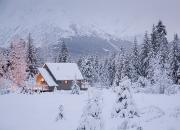 Snowcovered Framed Prints - Snowcovered Home In A Wintry Meadow At Framed Print by Jeff Schultz
