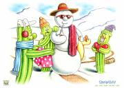 Winter Fun Drawings Prints - Snowday Print by Cristophers Dream Artistry