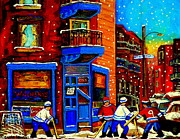 Urban Winter Scenes Prints - Snowday Hockey Practice Wilenskys Corner Fairmount And Clark Montreal City Scene Carole Spandau Print by Carole Spandau