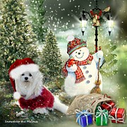 Maltese Dog Posters - Snowdrop and the Snowman Poster by Morag Bates