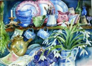 Teapot Paintings - Snowdrops on a Kitchen Dresser by Trudi Doyle
