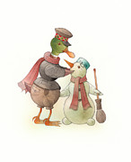 Christmas Drawings Originals - Snowduck by Kestutis Kasparavicius