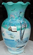 Country Glass Art Originals - Snowed in country cabin by Thomas Pittman