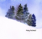 Winter Storm Painting Metal Prints - Snowfall Metal Print by Anne Duke