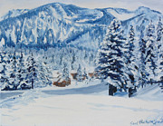 Snowscape Paintings - Snowfall at Mammoth Mountain by Sue Birkenshaw