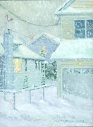 Snowy Scene Paintings - Snowfall by Marguerite Chadwick-Juner