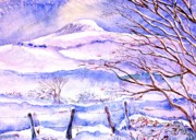 Snowfall Paintings - Snowfall on Eagle Hill Hacketstown Ireland  by Trudi Doyle