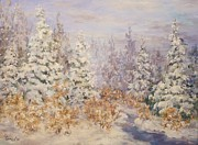Winter Scenes Pastels Framed Prints - Snowfall on Evergreens Framed Print by Barbara Smeaton